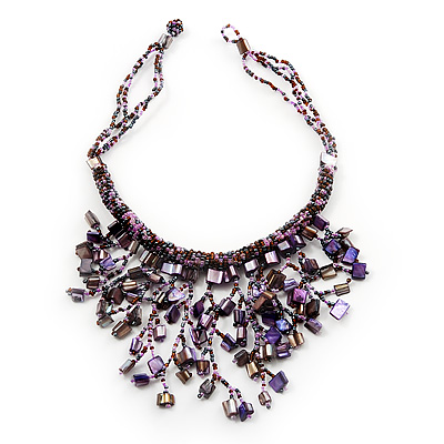 Purple Shell-Composite Bib Necklace - 34cm Length - main view