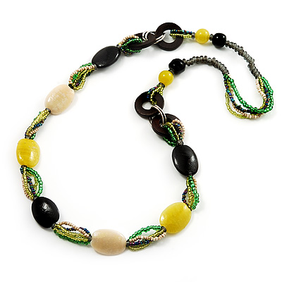 Long Ceramic, Wood & Glass Bead Necklace (Brown, Cream & Olive Green) - 76cm Length - main view