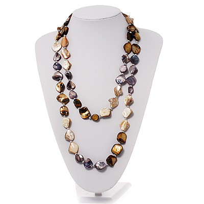 Long Multicoloured Shell Necklace -134cm Length - main view