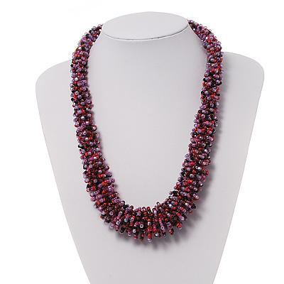 Multicolured Chunky Glass Bead Necklace - 58cm Length
