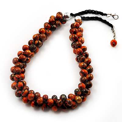 Orange Cluster Beaded Wood Cotton Cord Necklace - 58cm L