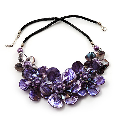 Stunning Purple Shell-Composite Leather Cord Necklace - 50cm L