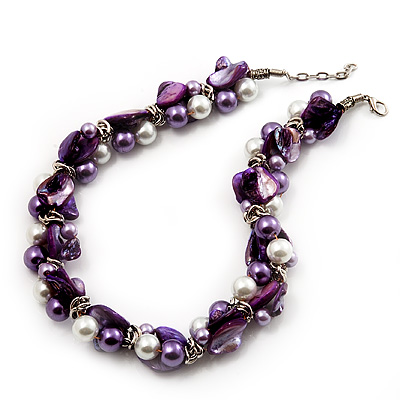 Exquisite Faux Pearl & Shell Composite Silver Tone Link Necklace (Purple & White) - 44cm L/ 3cm Ext