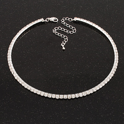 Thin Clear Austrian Crystal Choker Necklace (Silver Plated) - main view
