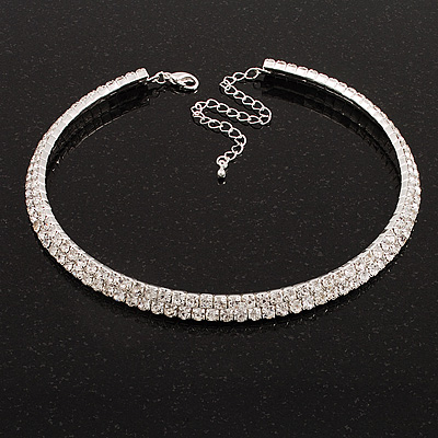 2-Row Austrian Crystal Choker Necklace (Silver Plated)