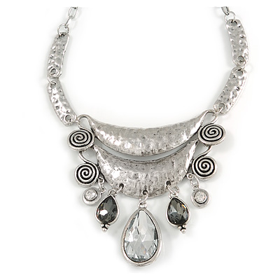 Silver Tone Hammered Diamante Bib Style Necklace - 38cm Length - main view