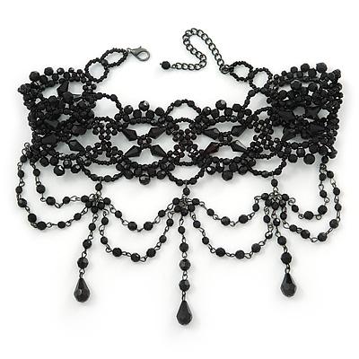 Jet Black Gothic Costume Choker Necklace (Black Tone Metal) - main view