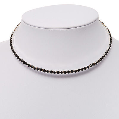 Thin Austrian Crystal Choker Necklace (Jet Black)