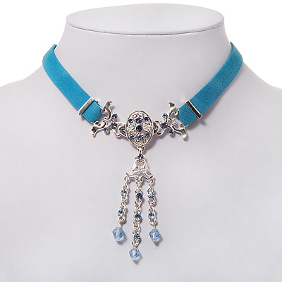 Victorian Light Blue Suede Style Diamante Choker Necklace In Silver Tone Metal - 34cm Length with 5cm extension - main view