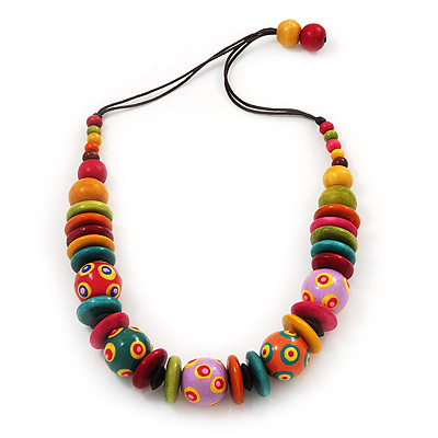 Chunky Multicoloured Wood Beaded Cotton Cord Necklace - 70cm Length - main view