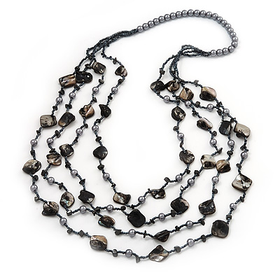 Long Multistrand Black Shell & Simulated Pearl Necklace - 96cm Length - main view