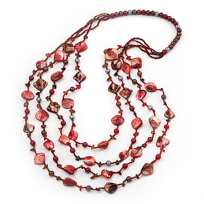 Long Multistrand Red Shell & Simulated Pearl Necklace - 96cm Length - main view