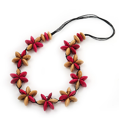 Beige/Deep Pink Wooden Floral Cotton Cord Necklace - 70cm Length