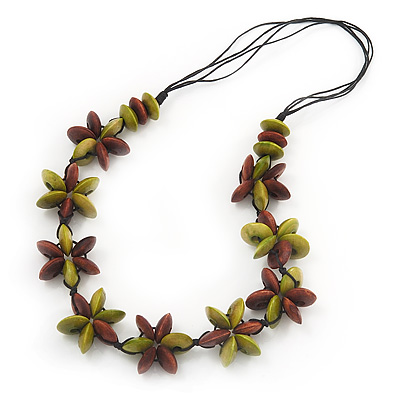 Brown/Olive Wooden Floral Cotton Cord Necklace - 70cm Length