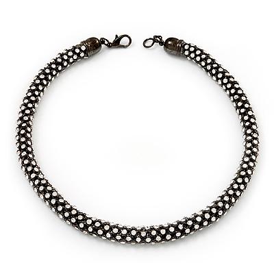 Austrian Clear Crystal Choker Necklace In Gun Metal Finish - 39cm Length