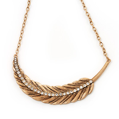 Large Crystal 'Feather' Pendant Necklace In Gold Plated Metal - 36cm Length (7cm extender)