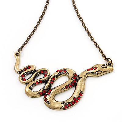 Red Crystal 'Snake' Necklace In Bronze Finish - 46cm Length