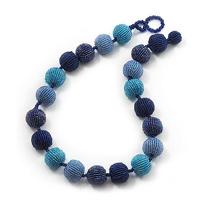 Chunky Navy Blue/Light Blue Glass Beaded Necklace - 54cm Length