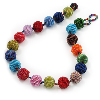 Chunky Multicoloured Glass Beaded Necklace - 56cm Length - main view