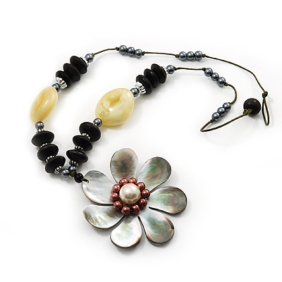 Large Mother of Pearl Flower Pendant & Wooden, Simulated Pearl Beaded Necklace - 52cm Length