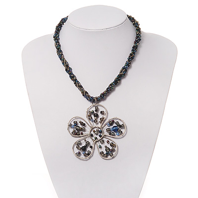 Peacock Coloured Glass Bead Flower Pendant Necklace - 40cm Length - main view