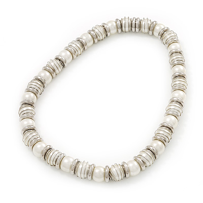 Light Cream Imitation Pearl Bead & Silvertone Metal Ring Stretch Choker Necklace