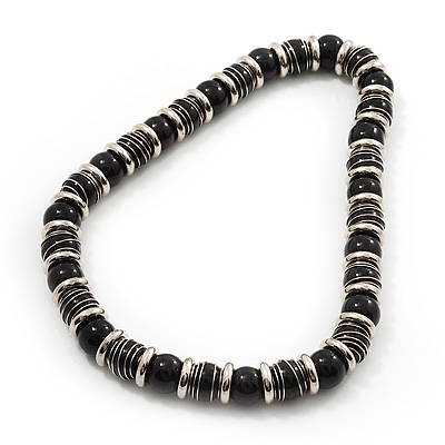 Black Ceramic Bead & Silvertone Metal Ring Stretch Choker Necklace