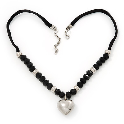 Black Glass/Metal Beaded 'Heart' Pendant Necklace On Velour Ribbon - 46cm Length (with 5cm extension)