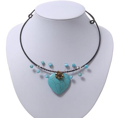 Romantic Turquoise Bead 'Heart' Flex Choker Necklace - Adjustable - main view