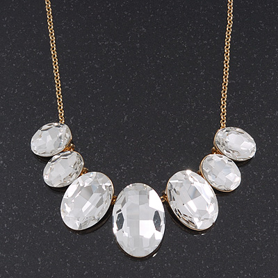 'Gorgeous Rocks' Oval Crystal Choker Necklace In Gold Plating - 34cm Length/ 6cm Extension
