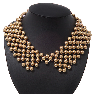 'French Collar' Beaded Choker Necklace In Matt Gold Finish - 38cm Length/ 7cm Extension - main view