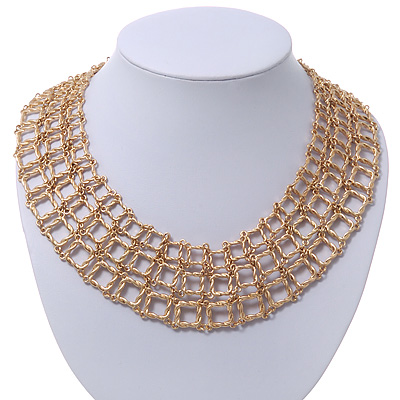 Regal 'Armour Style' Collar Necklace In Brushed Gold Finish - 40cm Length/ 7cm Extension