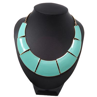 Mint Green Enamel Egyptian Bib Style Choker Necklace In Gold Plating - 38cm Length /7cm Extension