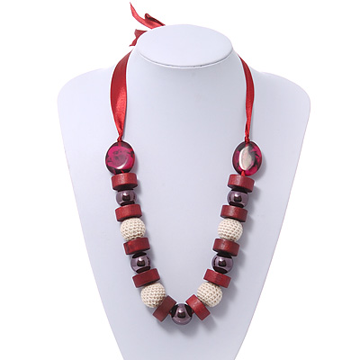 Chunky Burgundy Wood, Glass & Fabric Bead Necklace On Silk Ribbon - Adjustable