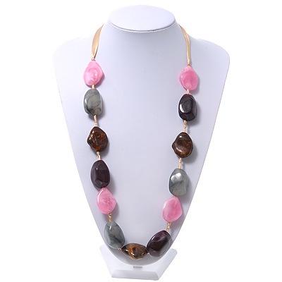 Long Chunky Pink/Grey/Purple/Brown Resin Nugget Necklace With Yellow Ribbon - Adjustable