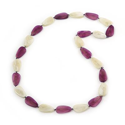 Long Purple/Pale Green Acrylic Necklace - 88cm Length