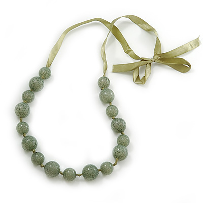 Long Round Pale Green Resin 'Cracked Effect' Bead Necklace With Silk Ribbon - Adjustable - main view
