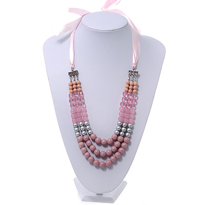 Long Multi Layered Pink/Metallic Silver/Magnolia Acrylic Bead Necklace With Pink Silk Ribbon - Adjustable