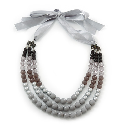 Long Multi Layered Grey/Metallic/Ash Grey/Black Acrylic Bead Necklace With Light Silver Ribbon - Adjustable - main view