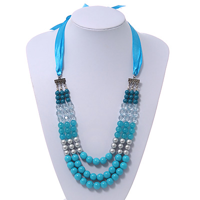 Long Multi Layered Metallic/ Teal/ Turquoise Coloured Acrylic Bead Necklace With Azure Silk Ribbon - Adjustable