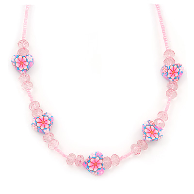 Children's Pink 'Heart' Necklace - 36cm Length/ 4cm Extension
