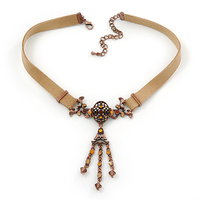 Victorian Light Brown Suede Style Diamante Choker Necklace In Bronze Metal - 34cm Length with 7cm extension