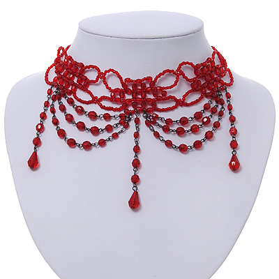 Chic Victorian/ Gothic/ Burlesque Red Bead Choker Necklace - main view