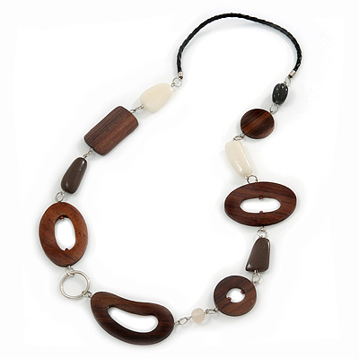 Wood Link & Glass Nugget Leather Style Long Necklace (Dark Brown, White & Black) - 76cm Length - main view