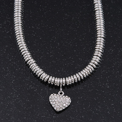 Rhodium Plated Swarovski Crystal Small Heart Necklace - 38cm Length/ 7cm Extension - main view