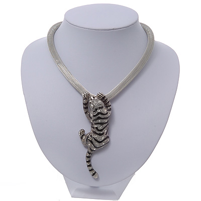 Silver Crystal Enamel 'Tiger' Mesh Magnetic Choker Necklace - main view