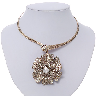 Large Dimensional Swarovski Crystal 'Flower' Pendant Collar Necklace In Burn Gold Finish - 39cm Length
