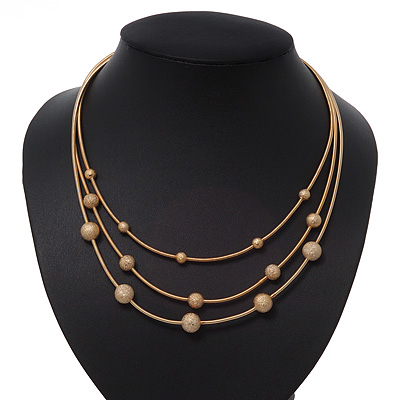 3 Strand Textured Ball Necklace In Gold Plated Metal - 40cm Length/ 5cm Length