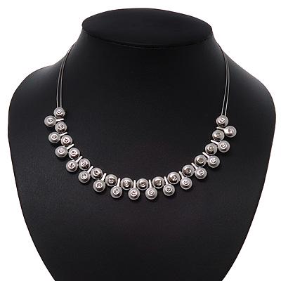 Polished/Matt Silver Tone Diamante Bead Wire Necklace - 36cm Length/ 7cm Extender