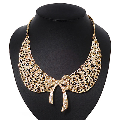 'Angel Wings' Peter Pan Collar Necklace In Gold Plating - 38cm Length/ 6cm Extension